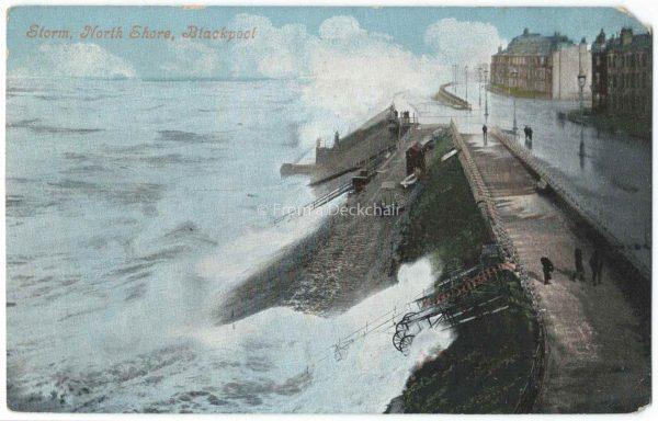 Storm, Blackpool North Shore Vintage Postcard