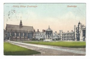 Trinity College Quadrangle Cambridge Vintage Postcard