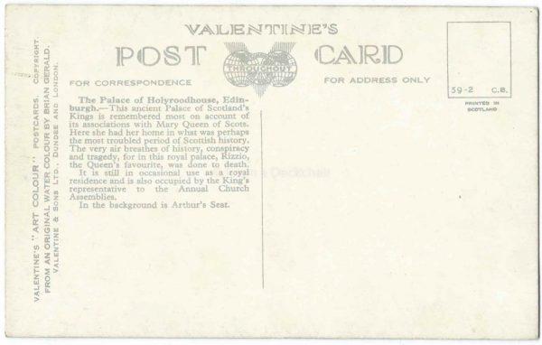 Holyroodhouse, Edinburgh Vintage Postcard BACK