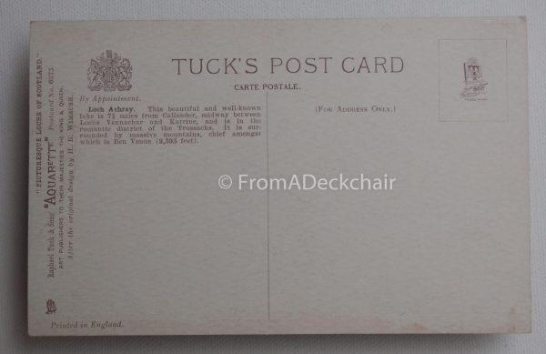 Loch Achray Vintage Postcard Back