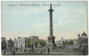 Nelson's Monument, Trafalgar Square, London Vintage Postcard
