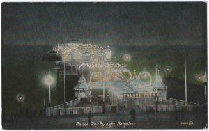 Palace Pier by Night, Brighton Vintage Postcard