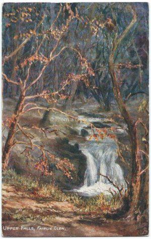 Upper Falls, Fairlie Glen, Scotland Vintage Postcard