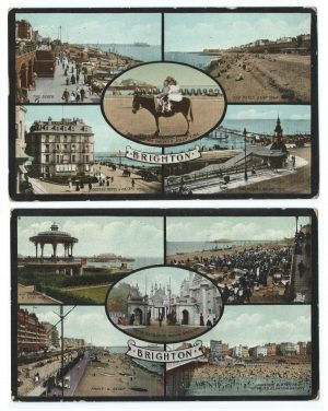 Brighton Multi View Vintage Postcard Duo