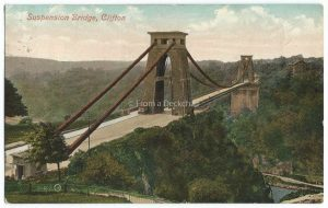 Clifton Suspension Bridge in Bristol Vintage Postcard