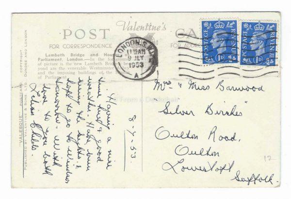 Lambeth Bridge & Houses of Parliament, London BACK - Vintage Postcard