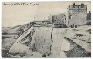 Landslip at Black Rock Brighton Vintage Postcard