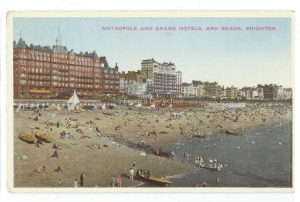 Brighton Beach & hotels Vintage postcard