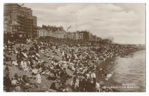 Brighton Beach from West Pier Vintage Postcard