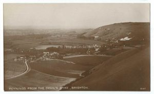 Poynings From Devil's Dyke, Brighton Vintage Postcard