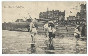The Beach Brighton Vintage Postcard