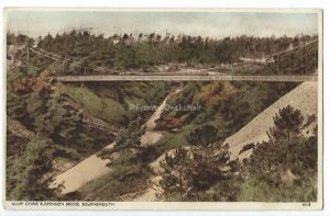 Alum Chine Suspension Bridge, Bournemouth Vintage Postcard