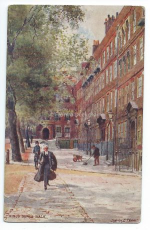 Kings Bench Walk Vintage Postcard