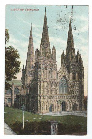 Lichfield Cathedral Vintage Postcard