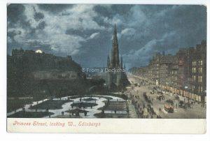 Princes Street, Edinburgh Vintage Postcard