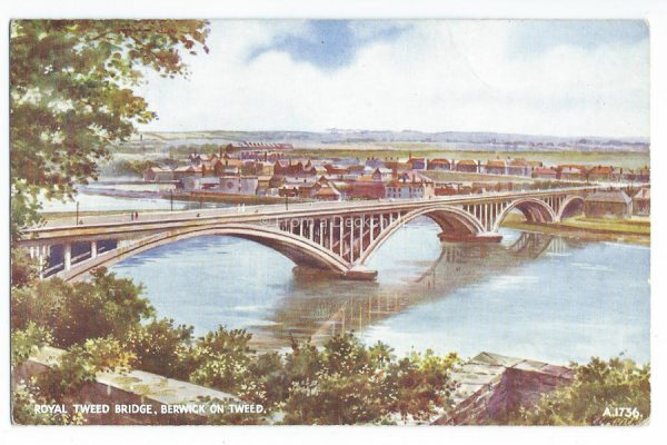 Royal Tweed Bridge, Berwick on Tweed Vintage Postcard
