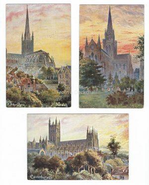 Tuck's Cathedrals Trio Vintage Postcards