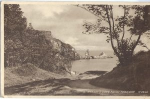 Ansteys Cove view from Torquary vintage valentines postcard