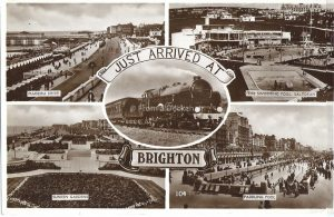 Just arrived at brighton vintage black and white postcard