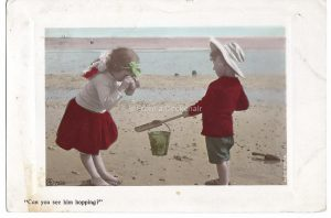 Can you see him hopping Vintage Postcard