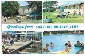 Greetings from Sunshine Holiday Camp Hayling Vintage Postcard