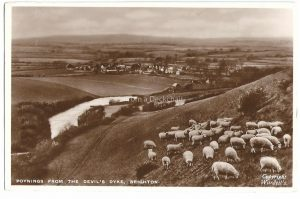 Poynings from Devils Dyke Brighton Vintage Postcard