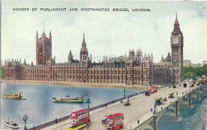 Vintage Postcard of Westminster Bridge, looking across the river to the Houses of Parliament