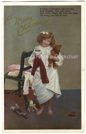 Vintage postcard of a little girl with her toysintage postcard of a little girl with her toys
