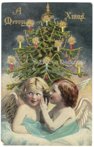 Vintage Christmas postcard of two cherubs with Christmas tree