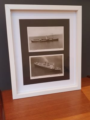Double Framed Vintage Ship Postcards