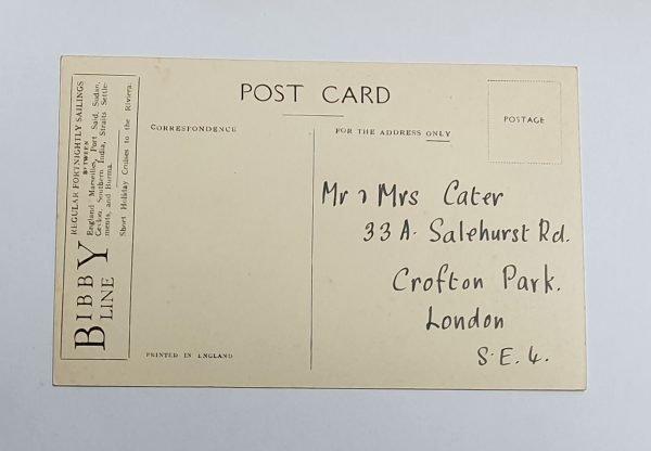 SS Yorkshire Vintage Postcard Back