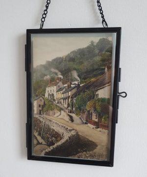 Lynmouth Vintage Postcard Hung White wall