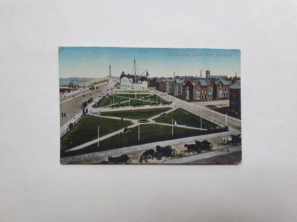 South Shore Gardens in Blackpool Vintage Postcard