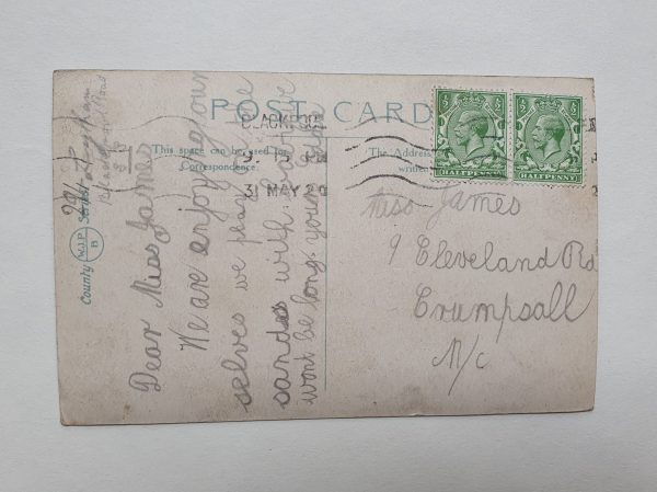 South Shore Gardens in Blackpool Vintage Postcard Back