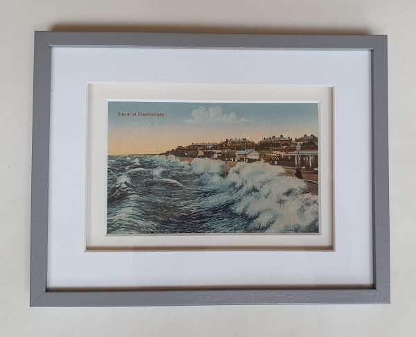 Storm at Cleethorpes Vintage Postcard Framed