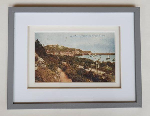 Torquay Rock Walk & Princess Gardens Vintage Postcard Framed