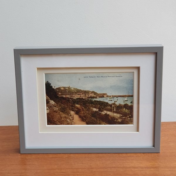 Torquay Rock Walk & Princess Gardens Vintage Postcard Framed Standing