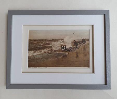 Vintage Postcard Southsea Rough Sea Framed Flat