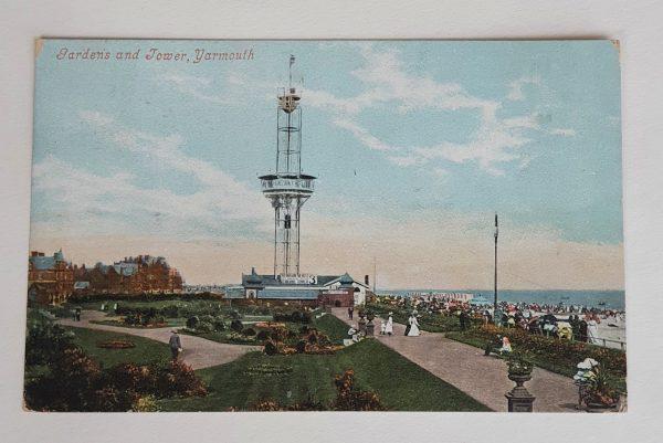 Yarmouth Gardens & Tower Vintage Postcard