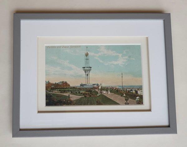 Yarmouth Gardens & Tower Vintage Postcard Framed