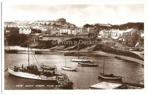 New Quay from the Pier Vintage Postcard