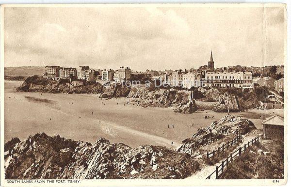South Sands Tenby Vintage Postcard