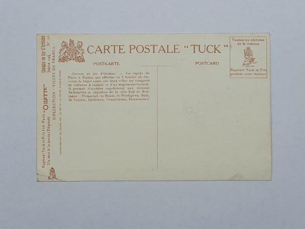 Chemin De Fe/r D'Orleans - Rapide de Paris a Nantes Vintage Postcard Back