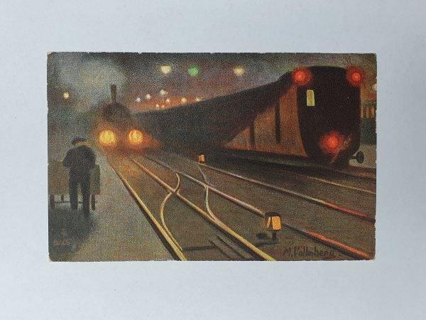 Eisenbahn bei Nacht Vintage Postcard