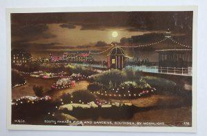 Southsea by Moonlight Vintage Postcard